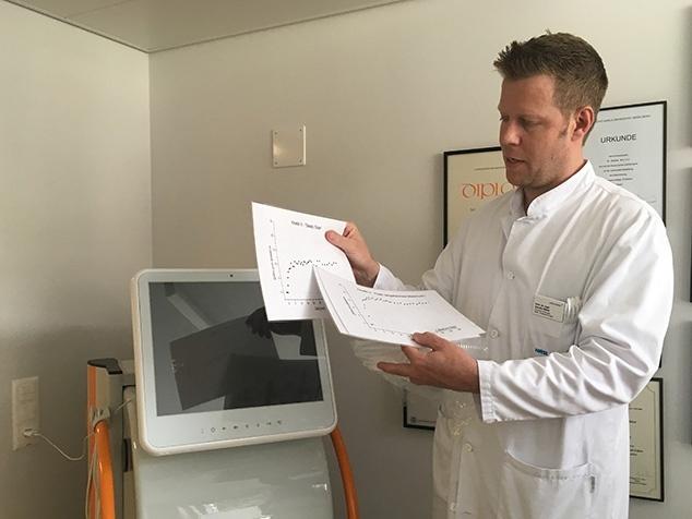Prof. Sascha Müller mit Leberfunktionstext LiMAx®