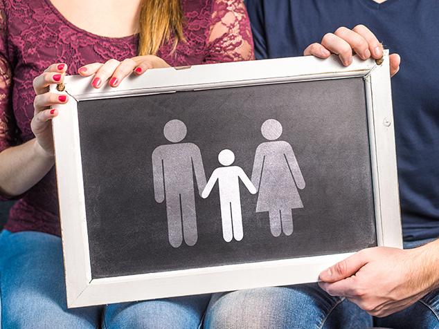 Symbol Mann, Frau, Kind für PCOS