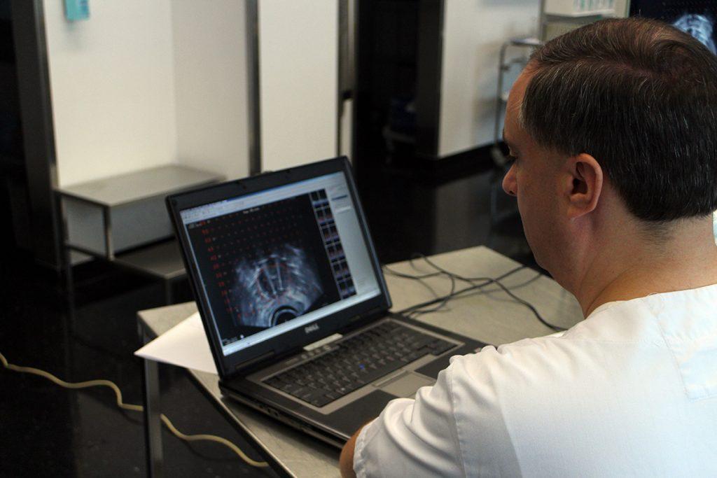 Medizinphysiker mit Modell am PC