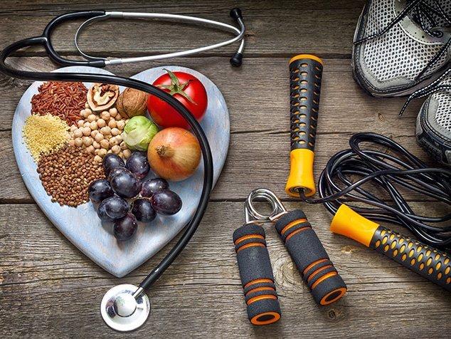 Nahrungsmittel und Sportgerät fürs Herz