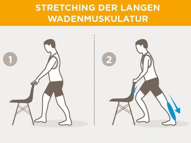 Laufsport-Aufwärmen-Stretching-lange-Wadenmuskulatur