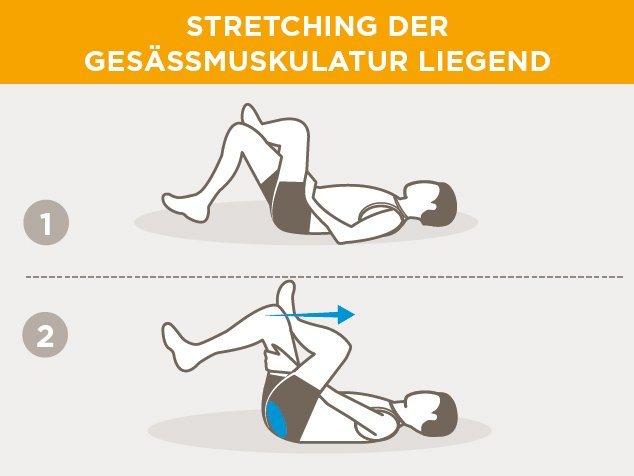 Laufsport-Aufwärmen-Stretching-Gesässmuskulatur-liegend