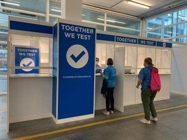 Test-Corner am Impfzentrum Messe Zürich